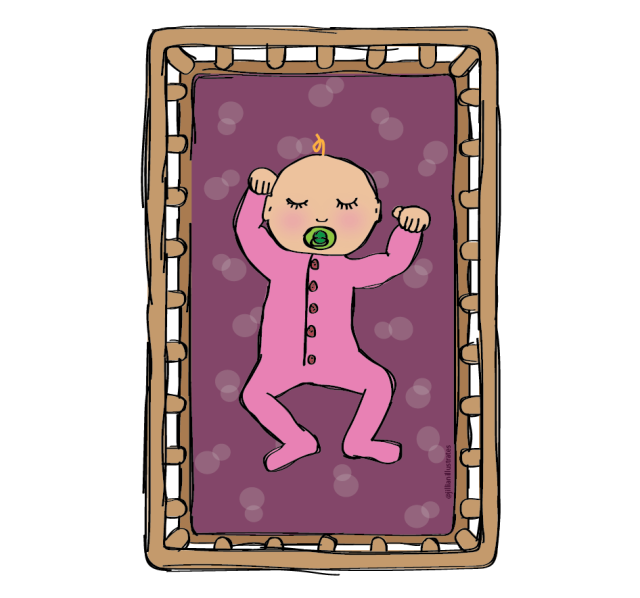 Drawing of a sleeping baby girl in a pink sleeper laying in a wooden crib