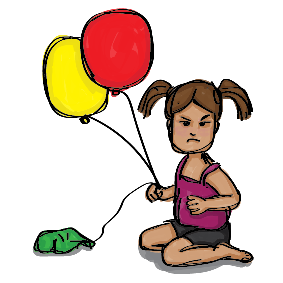 Angry Child with popped balloon