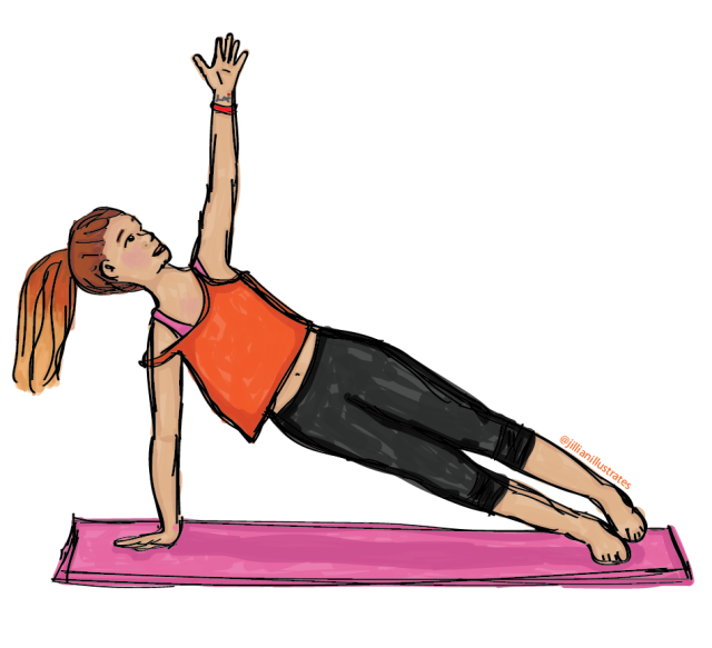 Woman in workout clothes doing a side plank yoga pose on a pink yoga mat