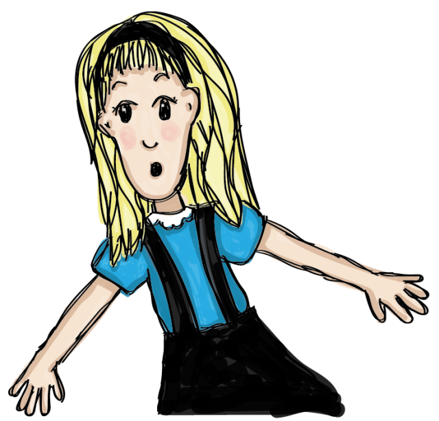 Illustration of surprised and worried blonde girl wearing a blue shirt