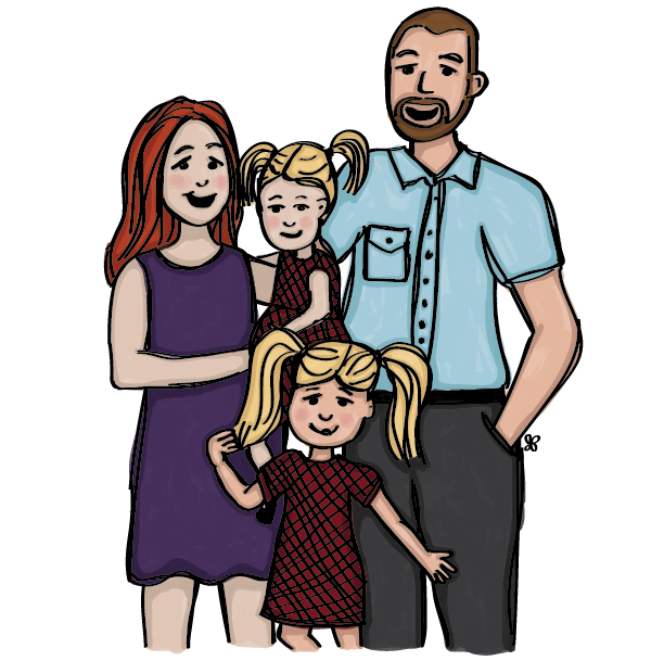 Illustration of a 4 person family, a mom in a purple dress, a dad in a blue shirt, and two little girls in red plaid dresses