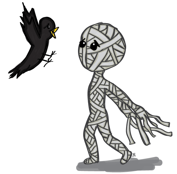 illustration of a mummy scaring a crow
