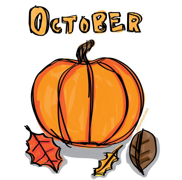 Illustration of an orange pumpkin with fall leaves and the word October