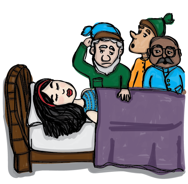 Sleeping Snow White in a bed with 3 dwarves looking concerned