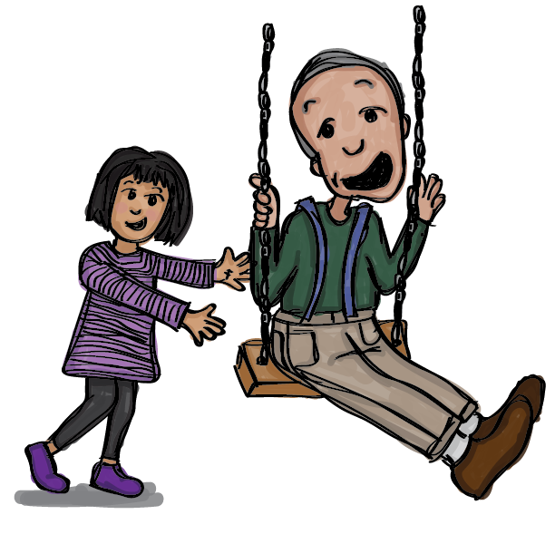 Illustration of a little girl in a purple dress pushing her grandfather on a swing