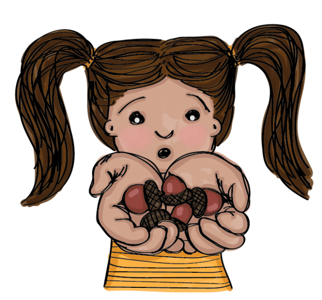 Illustration of young brunette girl with pigtails in a yellow shirt holding out a handful of acorns