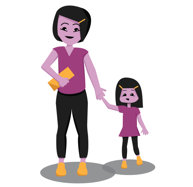 Graphic Illustration of a woman and girl holding hands and smiling
