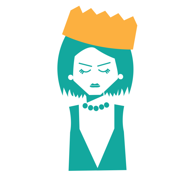 Graphic Icon of a queen wearing a dress, pearls, and a crown
