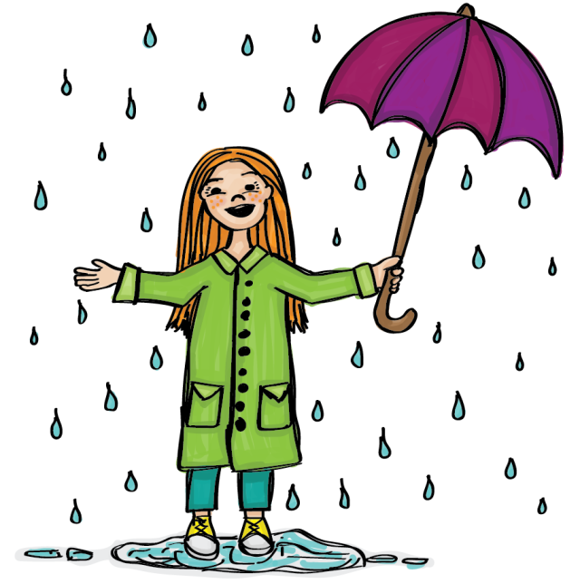 Illustration of a redheaded girl in a bright green raincoat holding a purple umbrella