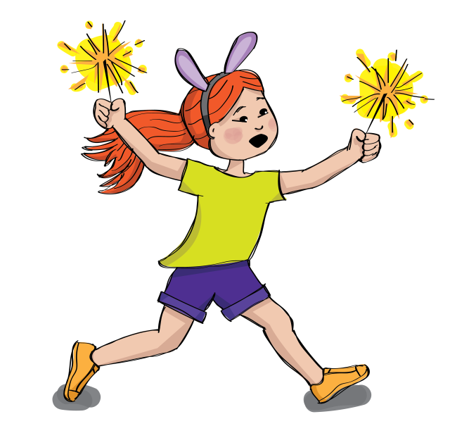 Illustration of a young girl running with sparklers while wearing bunny ears