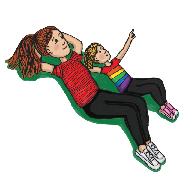 Illustration of a woman in a red shirt and white shoes laying in the grass with her young daughter wearing a rainbow shirt pointing upward.