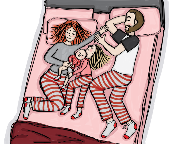 Illustration of a 4 person family sleeping in a pink bed wearing matching striped pajamas